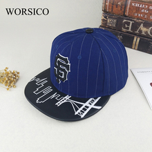 [WORSICO] Top Quality Classic Blue SF Letter Men's Baseball Cap Brand Hip Hop Summer Snapback Dad Hats For Men Bone Masculino(China)