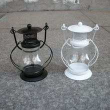 European Style Glass Iron Lantern Candle Kerosene Lamp Candlestick Home Furnishing Decoration Creative Candle Holders Sconce