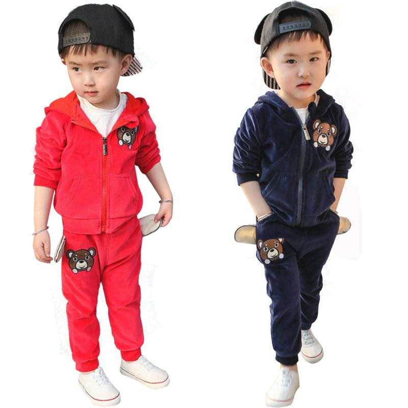 Baby Girl Clothes Set Autumn Cartoon Children Tracksuit Toddler Boys Clothing 2Pcs Hooded Coat Red+Pants Sets Boy Winter Unisex<br>
