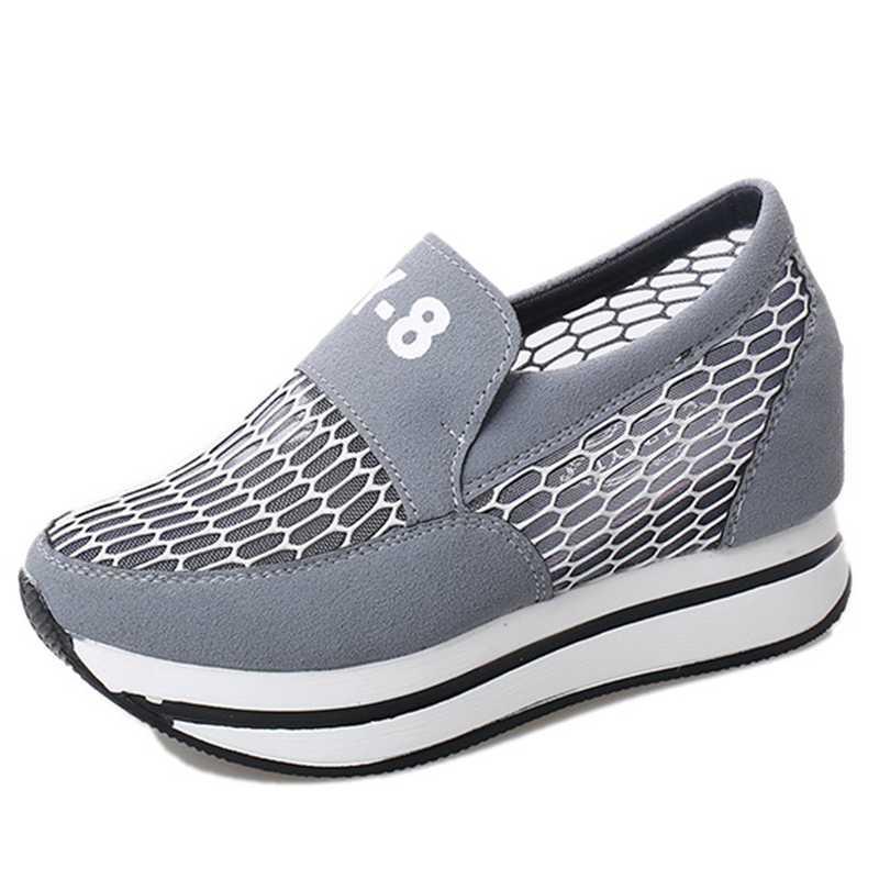DoraTasia 2017 Hot Summer Shoes Woman Increased Internal Leisure Air Mesh Flock Upper Wedge Med Heels Women Platform Pumps<br><br>Aliexpress