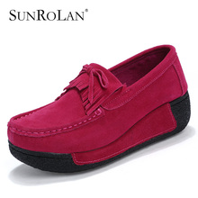 SUNROLAN Summer Women Flat Platform Shoes Fashion Bow Suede Driving Moccasins Slip On Tassel Loafers Women Shape Up Shoes 606(China)