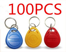 100PCS EM4100 ID card keychain access radio frequency sensor card red and blue matching 125K RFID reader module