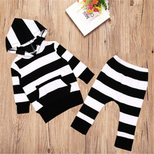 Wholesale Price Autumn Warm Stripped Toddler Newborn Baby Boy Girl 2PCS Hoodie Sweatshirt Tops + Pants Kids Clothes Outfit Set