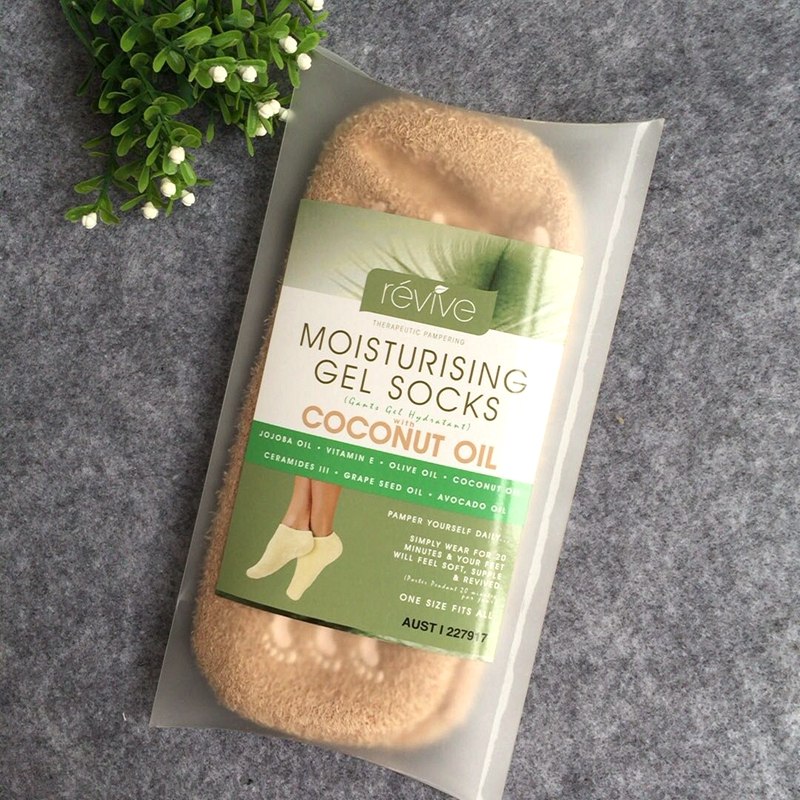 Genuine Australia Moisturizing Gel Socks with Coconut Oil Foot Care Treatment Repair Dry Foot Skin Foot Care Soft Smooth foot<br>
