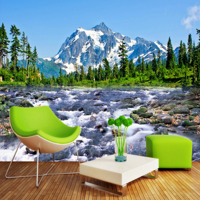 Free Shipping Snow mountain plateau 3D landscape painting home decoration bedroom bathroom living room wallpaper mural<br><br>Aliexpress