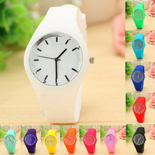 Perfect Gift watches for women Leisure Sports Candy-colored Jelly quartz-watch Silicone Strap ladies bracelet watch June23 H0