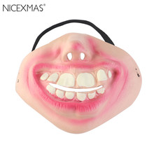 Big Teeth Latex Mask for Movie Fancy Dress Hallowee Masquerade Party Horror Creepy Elastic Band Half Face Masks Funny Costume(China)