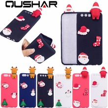 QuShar Soft TPU Red Matte Case for Huawei P10 P 10 Cute Christmas Phone Case 3D Santa Claus Hat Sock Deer Slim Back Cover Rubber