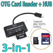 OTG SDHC/SD/TF Card Reader 3 in 1 Micro USB HUB Cable Adapter for Samsung S5/S4/S3 for HTC ONE for Sony Xperia Z1 Z2 Z3 G1 G2 G3