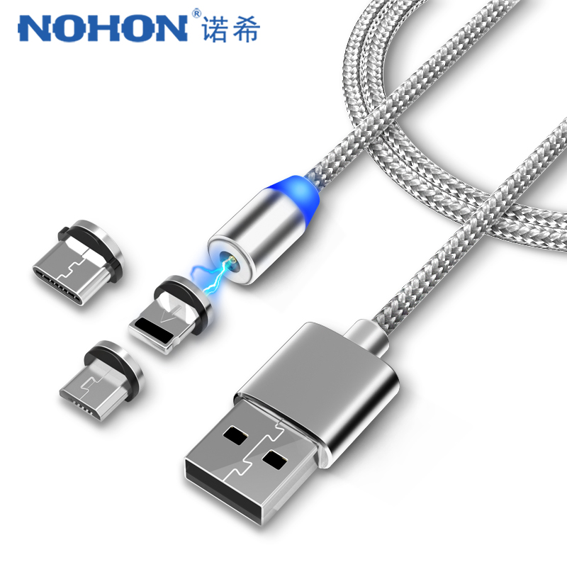NOHON 3 in 1 Fast Magnet Charge Cable LED Lighting 8 Pin Micro USB Type C For iPhone title=