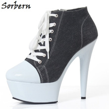 Buy Sorbern Denim Women Pumps 15Cm High Heels Womans Shoes Fashions 2018 Fetish High Heels Platform Shoes Ladies Fall Shoes