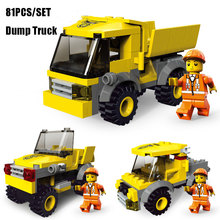 81PCS 3IN1 Dump Truck Dumper Lorry Model Tipper Figures Building Blocks City Construction Bricks For Kids Educational Toy