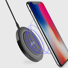 TOTU Portable Compact Smart LED Qi Wireless Charger Charging Pad Mat for iPhone X 8 Plus Samsung S6 S7 edge S8 Note8 Universal(China)