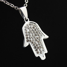 Fashion Stainless Steel Crystal Celebrity Hamsa Fatima Hand Charm Pendant Chain Necklace Lucky Jewellery Gift MN560
