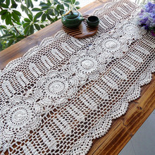 free shipping cotton crochet flower table runner for home decor table cover as kitchen accessories dinning table towel cover mat