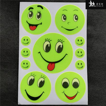 5 Sheet 19x13CM Reflective safety sticker smile face for kids school bag,scooter,kids reflective any where for visible safety(China)