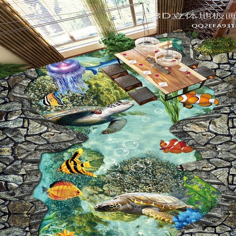 Free Shipping self-adhesive floor mural Sea World Coral Tropical Fish 3D Stereo Painting Flooring wallpaper<br>