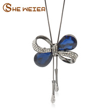 SHE WEIER 11.11 Long Necklace Zirconia Steel Sweather Chain Pendant Butterfly Necklace For Women Jewelry 2017 Kolye Collares(China)