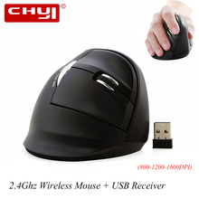 CHYI 2.4G Wireless Ergonomic Mouse 1600 DPI Optical Computer Mouse Non-slip Vertical Mice for Office Laptop High Quality Mouse