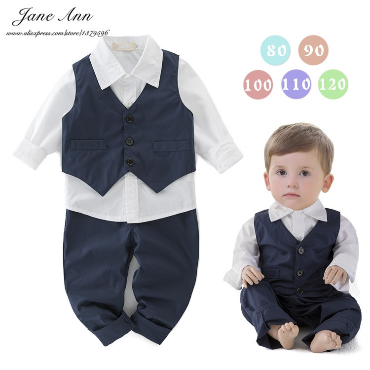 Baby boy cotton outfit gentlemen  toddler kids long sleeve white shirt +blue vest + pants  infant wedding party birthday clothes<br><br>Aliexpress