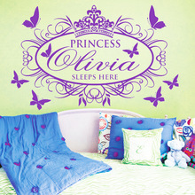 Personalized Name Decals Spanish Princess Crown Butterflies Mural Vinyl Wall Stickers Home Decor Kids Baby Girls Room Decor P730