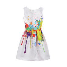 Drawing graffiti European style brand design toddler girl dress printing sleeveless vest clothes girls dress children's clothing