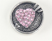 12pcs/ Personality Women Pink Rhinestone Engraved Heart Chunks 20mm Snap Button Fit Diy Jewelry Lover Bracelet