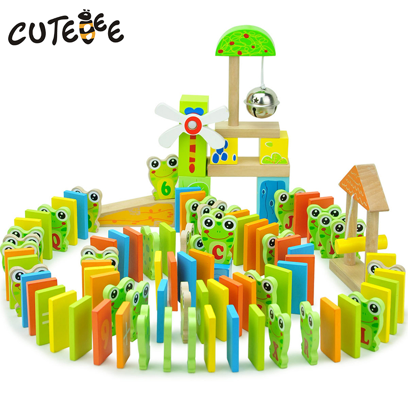 CUTEBEE Wooden Toys for Children Montessori Toy Block Cube Educational Frog Domino Letters and Numbers for Kids Baby Toys<br>