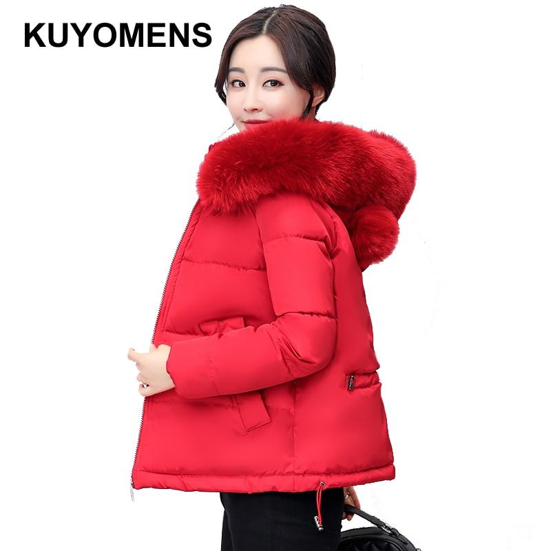KUYOMENS Winter Jacket Women Large Fur Collar Down Wadded Jacket Female Cotton-Padded Jackets Thickening Women Winter CoatÎäåæäà è àêñåññóàðû<br><br>