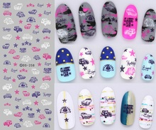 DS258 DIY Nail Design Water Transfer Nails Art Sticker Pink Blue Cars Elements Nail Wraps Sticker Watermark Fingernails Decals