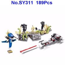 SY311 189Pcs Star Wars Battle On Saleucami Clone Battle Droid Clone Trooper Building Block Compatible 75037 Brick Toy