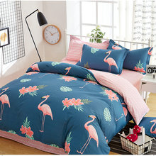 Floral Plant Pastoral Bird Printing Bedding Sets Cartoon Creative Bed Sheets Cotton Bedding Pillowcase Duvet Cover Sets(China)