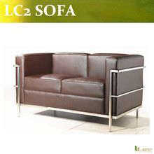 U-BEST high quality LC2 LoveSeat 2-seater,leisure Le Corbusier 2 seater sofa, leather loveseat,living room loveseat sofa(China)