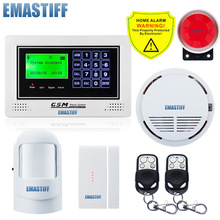 Best Support 100 Wireless Detector GSM SMS LCD Screen Voice,Home Security Alarm System With PIR Door Sensor and Fire Sensor