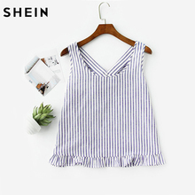 SHEIN Bow Back Ruffle Trim Striped Pinafore Top Cute Women Blouses Summer 2017 Scoop Neck Sleeveless Casual Blouse(China)