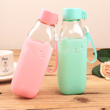 Candy Color Cute Glass Bottle Silicone Creative Sweet Bottles Eco-Friendly 420ml Camping Travel Use Safe Package(China)