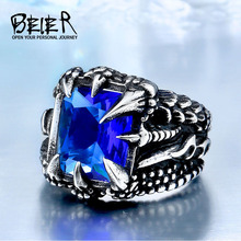 Cool Dragon Claw Ring With Red/Blue/Black Stone Stainless Steel Man's Hiqh Quality Jewelry Wholesale Price BR8-178(China)