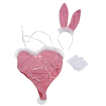 Women Hot Sexy Bunny Body Suit Cosplay Costume Uniform Underwear Pink(China)