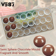 Chocolate Mold Plastic Oven Semi Sphere Chocolate Mould PC Polycarbonate Baking Mold Bakeware Rectangle Cooking Tools(China)
