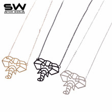 Fashion Accessories 3D Elephant Pendant Necklace Punk Jewelry Animal Pendant Black Necklace Wholesale Price Jewelry(China)
