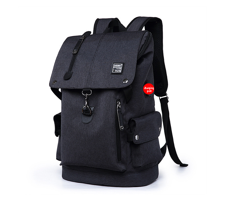 Fusce velit Backpack Oxford disco homines USB / BAG Leather lapides sacculi Casual Mochila Travel