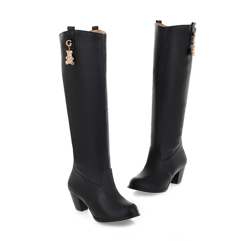 Classical Women Boots Fashion Cute Metal Ornaments Knee-High Boots Thick Heel Autumn Long Boots Cylinder Women Shoes Botas Mujer<br><br>Aliexpress