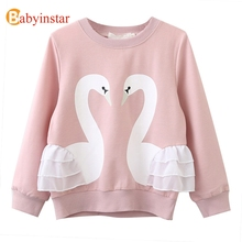 Babyinstar Cute Swan Girls T-shirt 2017 New Autumn Casual Children's Sweatshirts Long Sleeve Top Tee Outwear Cotton Kids t shirt