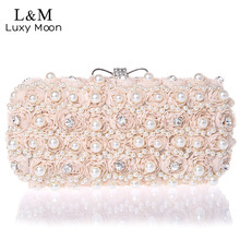 White Flowers Evening Hand Bag Noble Ladies Pearl Wedding Party Dressed Clutch BagsRhinestone Bow Mini Purse bolsos mujer XA40H