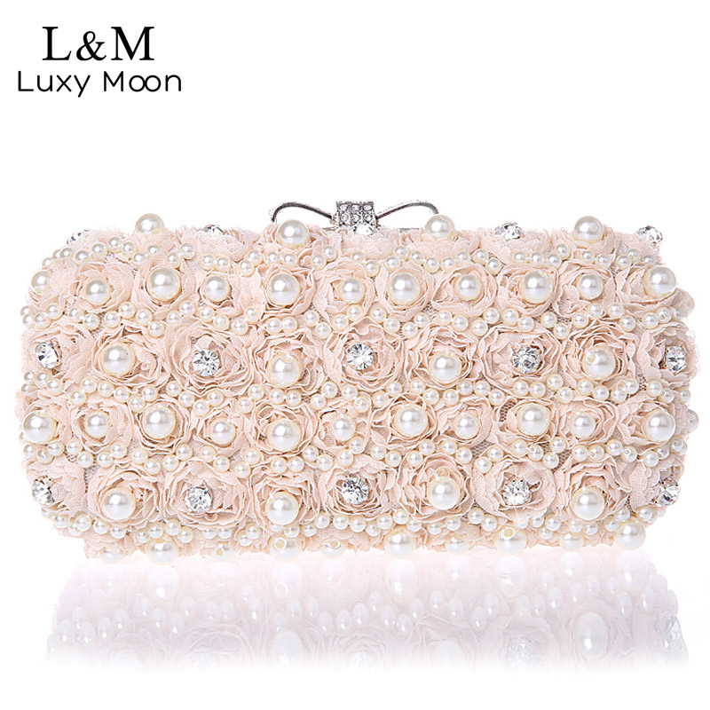 White Flowers Evening Hand Bag Noble Ladies Pearl Wedding Party Dressed Clutch BagsRhinestone Bow Mini Purse bolsos mujer XA40H(China)