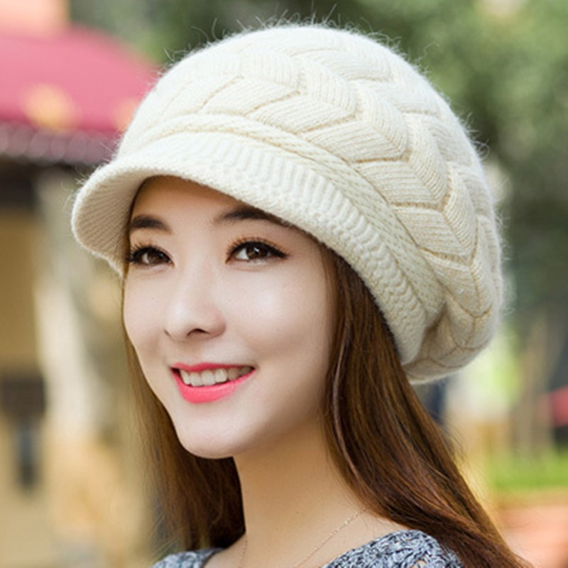 New Women Hat Winter Warm Beanies Fleece Inside Knitted Hats For Woman Rabbit Fur Cap Autumn And Winter Ladies Fashion CapsÎäåæäà è àêñåññóàðû<br><br><br>Aliexpress