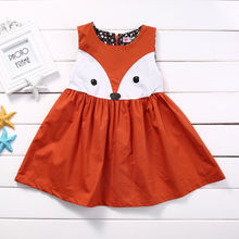 1-5Y Toddler Kids Baby Girls Sleeveless Orange Cute Cartoon Back Zipper Fox Fancy Dress Princess Party Tulle Tutu Dresses