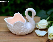 White/Black Swan Temperature Ceramic Flower Pots Romantic Japanese Grocery Candlestick Flower Pots Planters Garden Supplier(China)