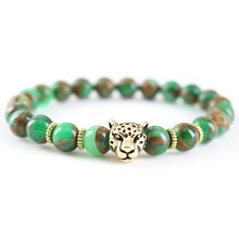 Trendy Natural Green Stone Wristband Golden Charm Bracelet Men Animal Style Powerful Vintage Punk Stretch Bangle Boyfriend Gift