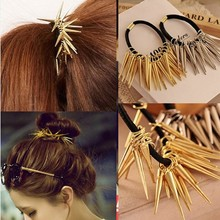 2014 Rushed Real Hair Sticks Classic Wholesale Prices Hair Accessory Punk Metal Elastic Rivet Pin Rope Band for Bridal